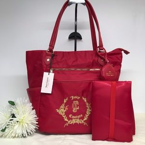 Juicy Couture Baby Diaper Bag Floral Crest Red NEW